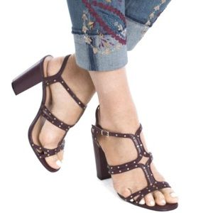 White House Black Market maroon strappy heels 8